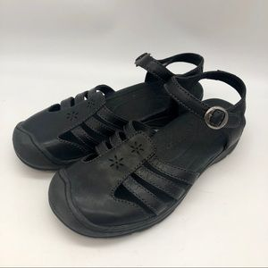 Keen black leather hiking sandals